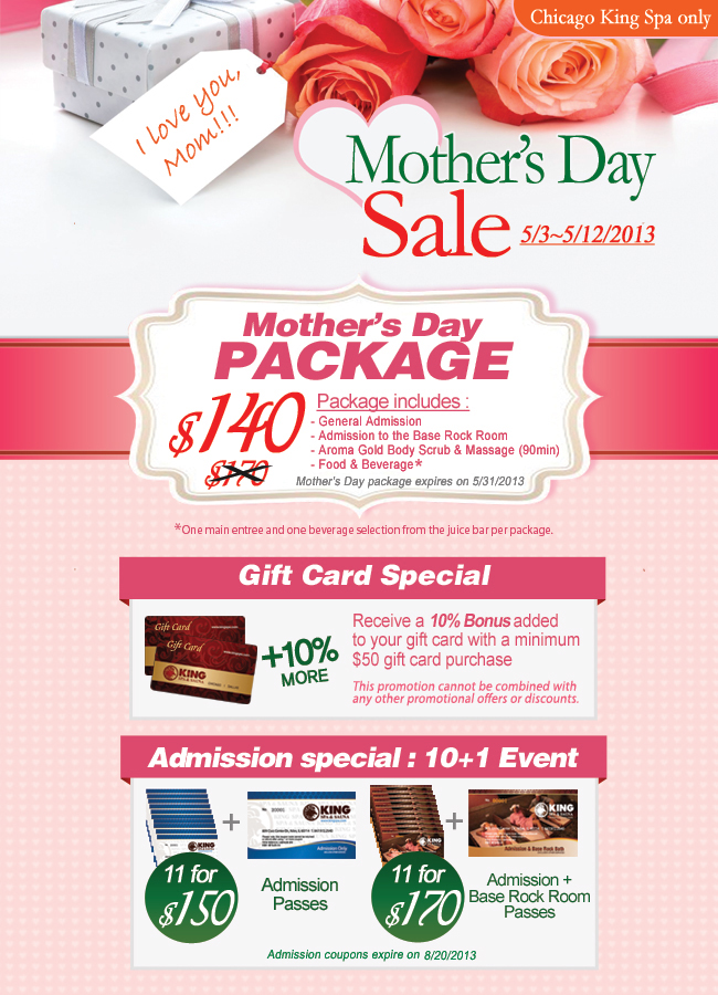 Chicago King spa and sauna sale for Mother's day