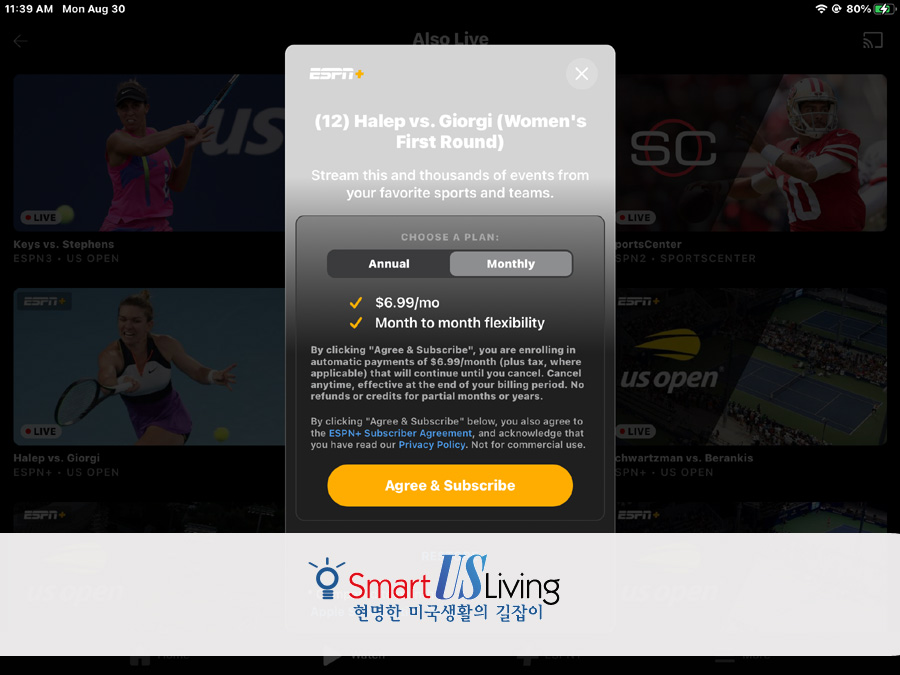 US 오픈 테니스 ESPN 앱으로 보기, Watch US Open teniis by ESPN App, ESPN+ Monthly Fee